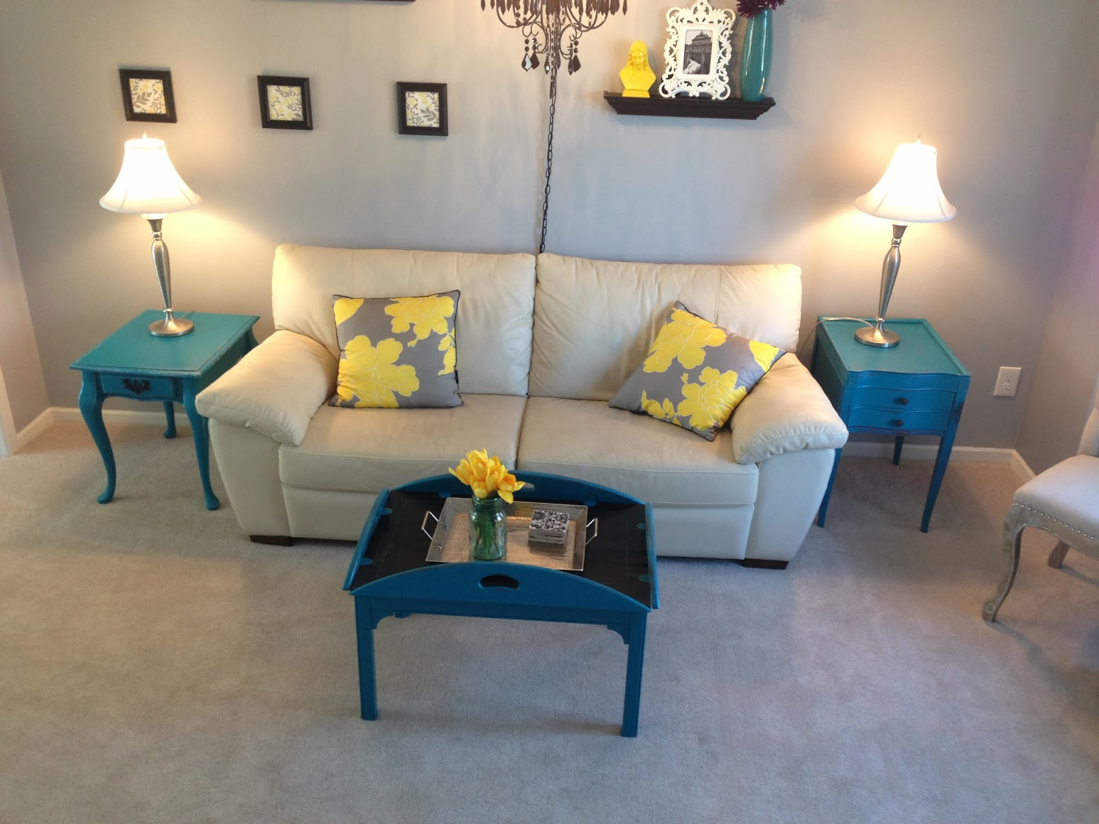 Distressed turquoise 3 piece living room set - SOLD title=