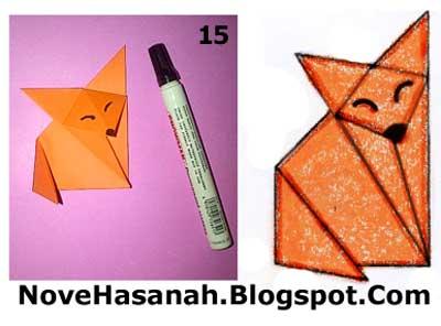 cara melipat kertas membuat origami serigala