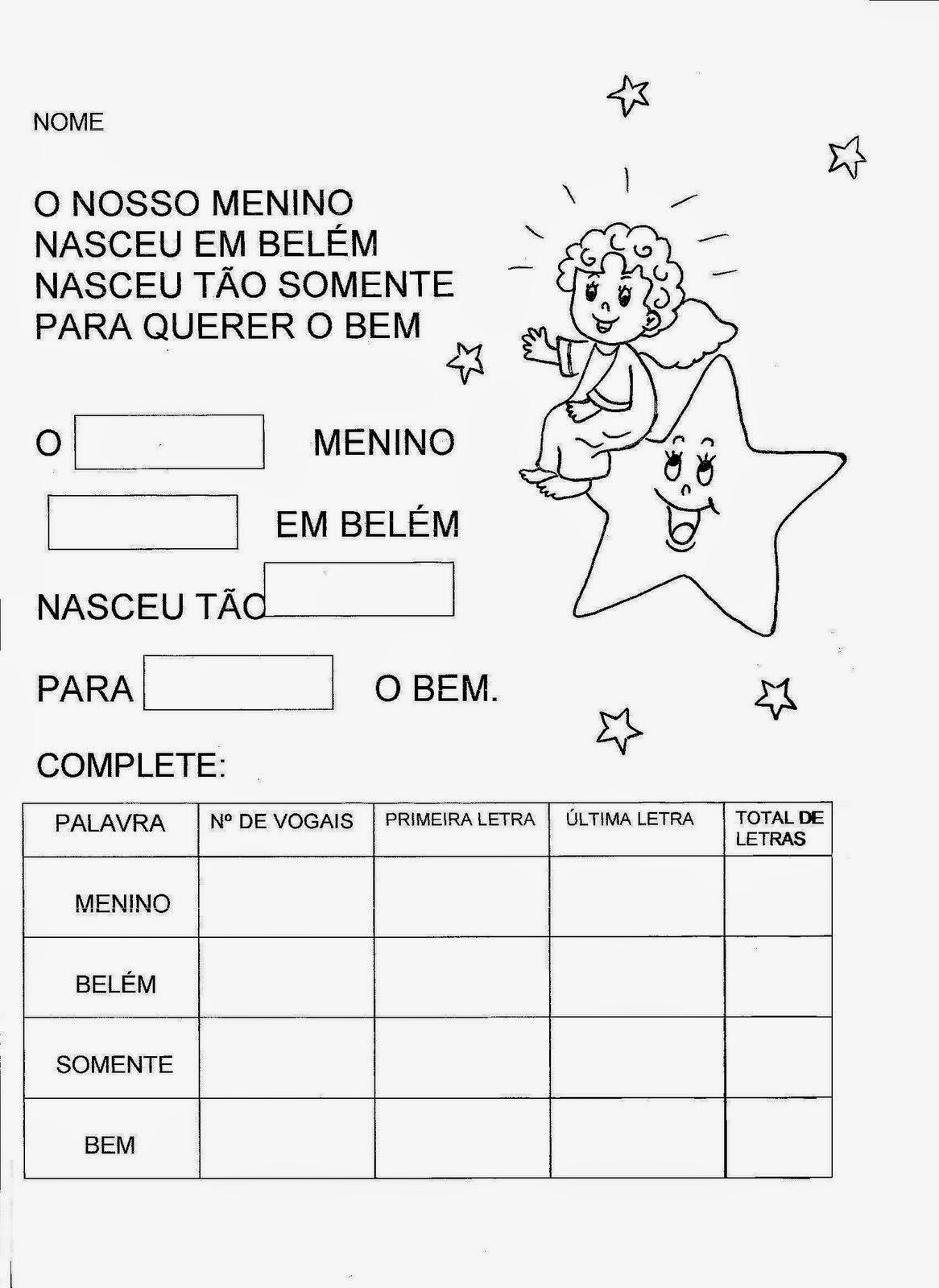 Well-known Cantinho da Profe Sheila: Atividades de Natal para alfabetização WA75