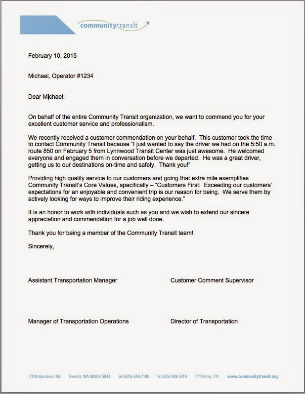 Community transit how to commend your bus driver commendations are gathered and shared with drivers via a formal letter like this one left and put in their employee file your commendation will help the expocarfo