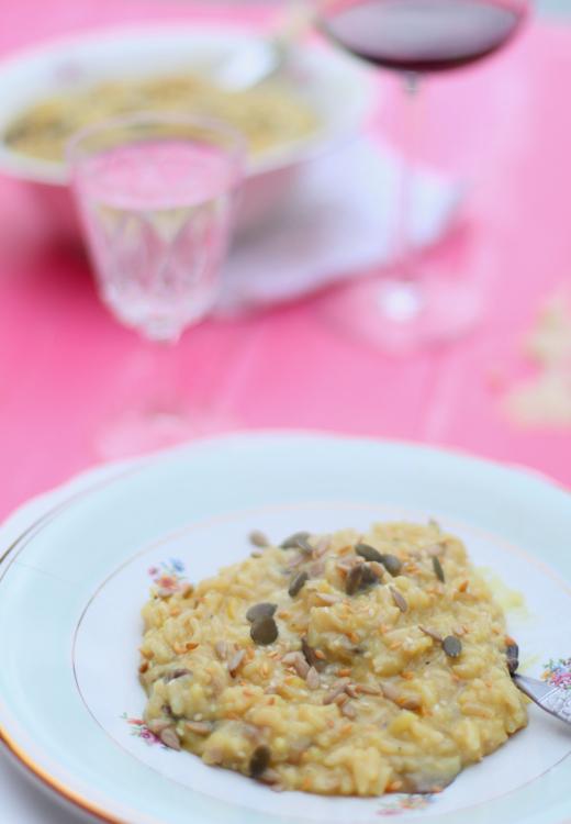 Receta: Risotto de hongos, queso de cabra y semillas.