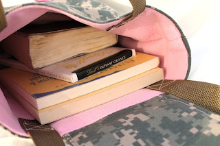 book tote ACU camouflage Army wife pink reusable gift bag