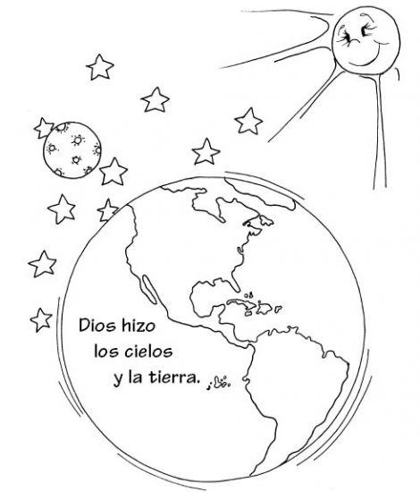 Dios hizo los cielos y la tierra para colorear ~ Dibujos Cristianos ...