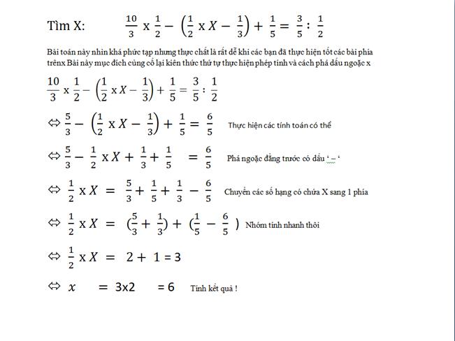 các dạng bài toán tìm x - toán 5