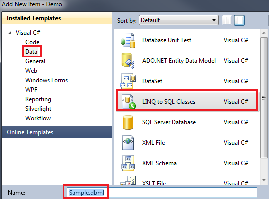 Creating LINQ to SQL Classes