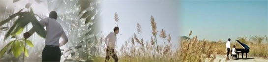 Yoo Jin walks through a forest, then a field to a clearing where Nae Il plays the piano