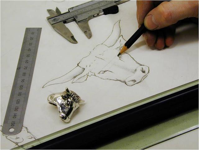 Stephen Einhorn, jewellery, bull, sketch, silver