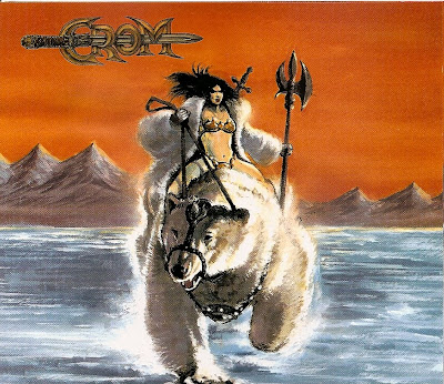 metal album cover woman with axe riding a bear