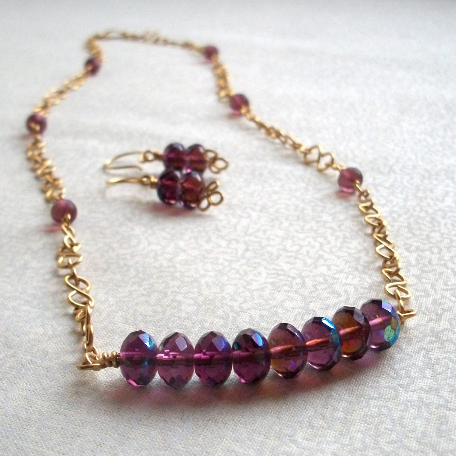Amethyst Purple Glass Jewelry Set