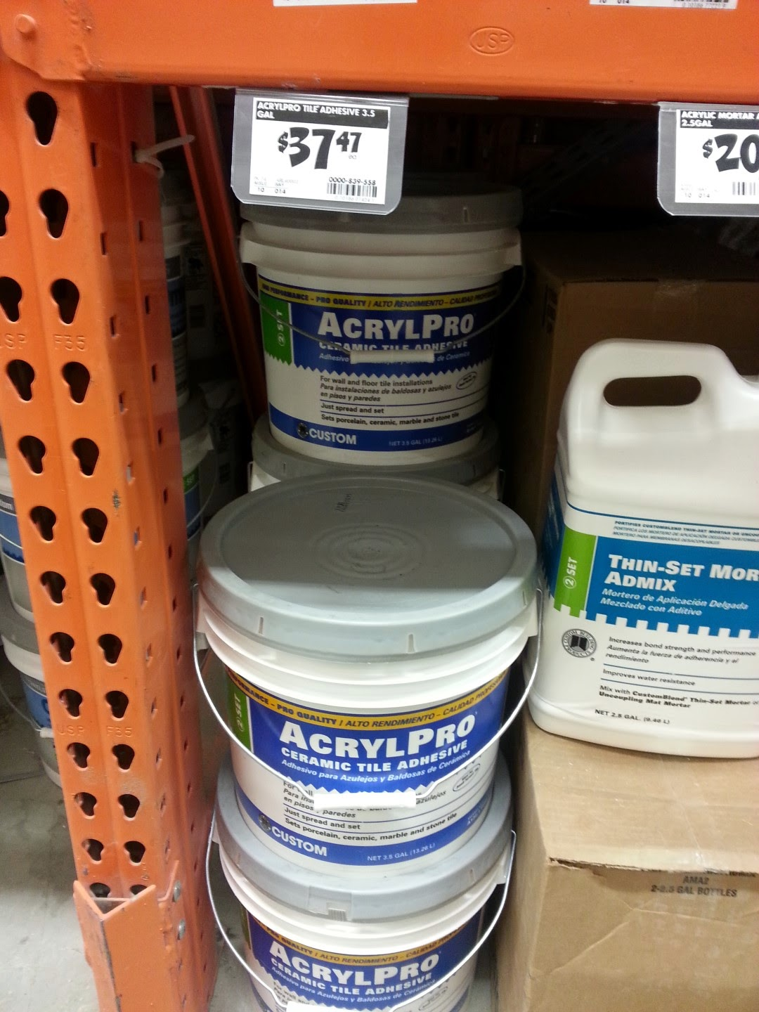 cost, lowe's, home depot, mastic, tile adhesive, shower