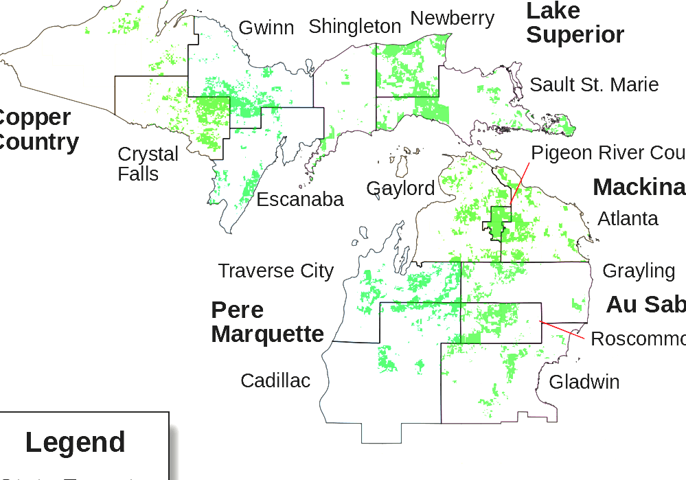 List Of Michigan State Forests - Michigan State Forest Map