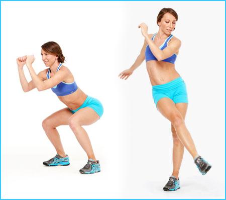 Упражнение за стягане на бедра и корем - Приклякане и изправяне с усукване на тялото