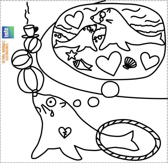 animales acuticos para colorear leon marino foca
