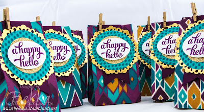 Adorable Treat Bags easy to make with the Stampin' Up! Gift Bag Punch Board - get it here