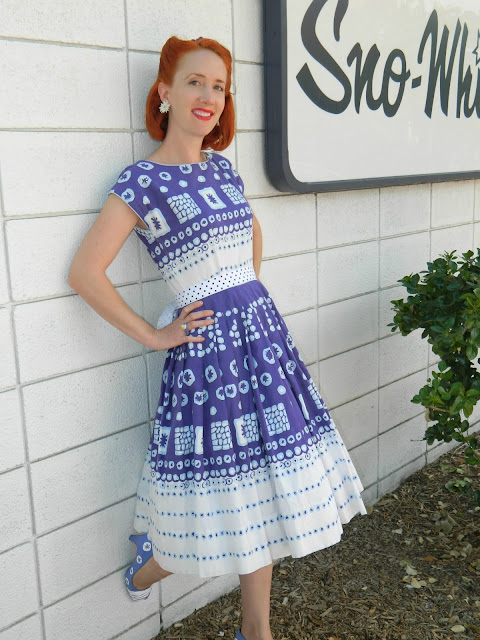 1940s 40's atomic dress vintage Old Colorado City Sno-white Just Peachy, Darling