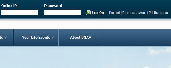 USAA login page screen shot