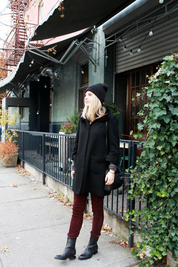 Burgundy Rag & Bone cords Joe Fresh cape coat