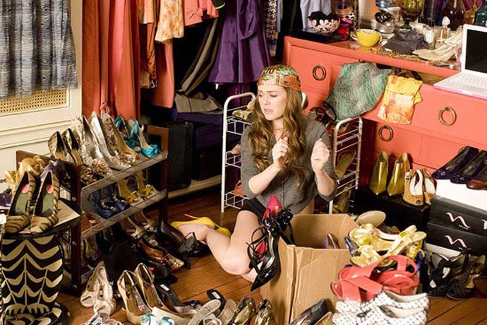 an image from the movie confessions of a shopaholic, Isla Fisher, full wardrobe, clothes, shoes