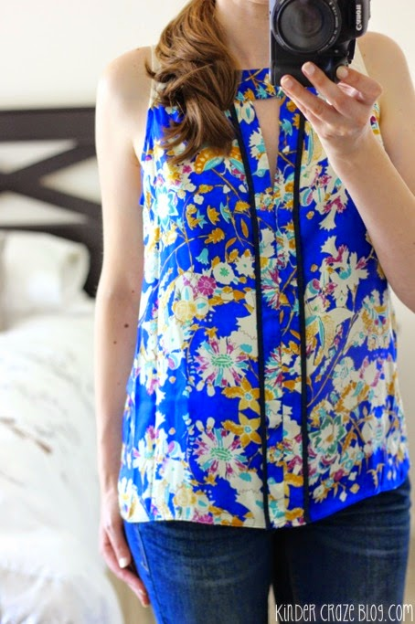 blue keyhole floral print blouse and Kensie bootcut jeans from Stitch Fix