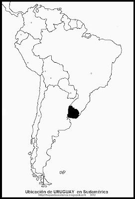 Ubicación de URUGUAY en Sudamérica, blanco y negro