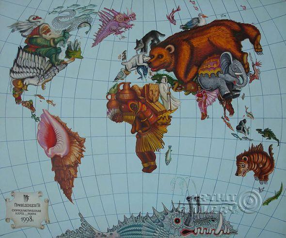 Gennady Privedentsev pinturas arte surreal Mapa-mundi
