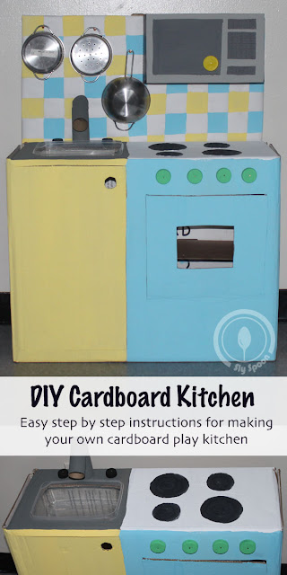 How To Make an Easy DIY Play Kitchen - Cardboard Creations - Sly Spoon