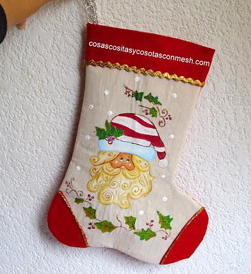 Botas navide as en fieltro con molde - Como hacer manualidades navidenas para ninos ...