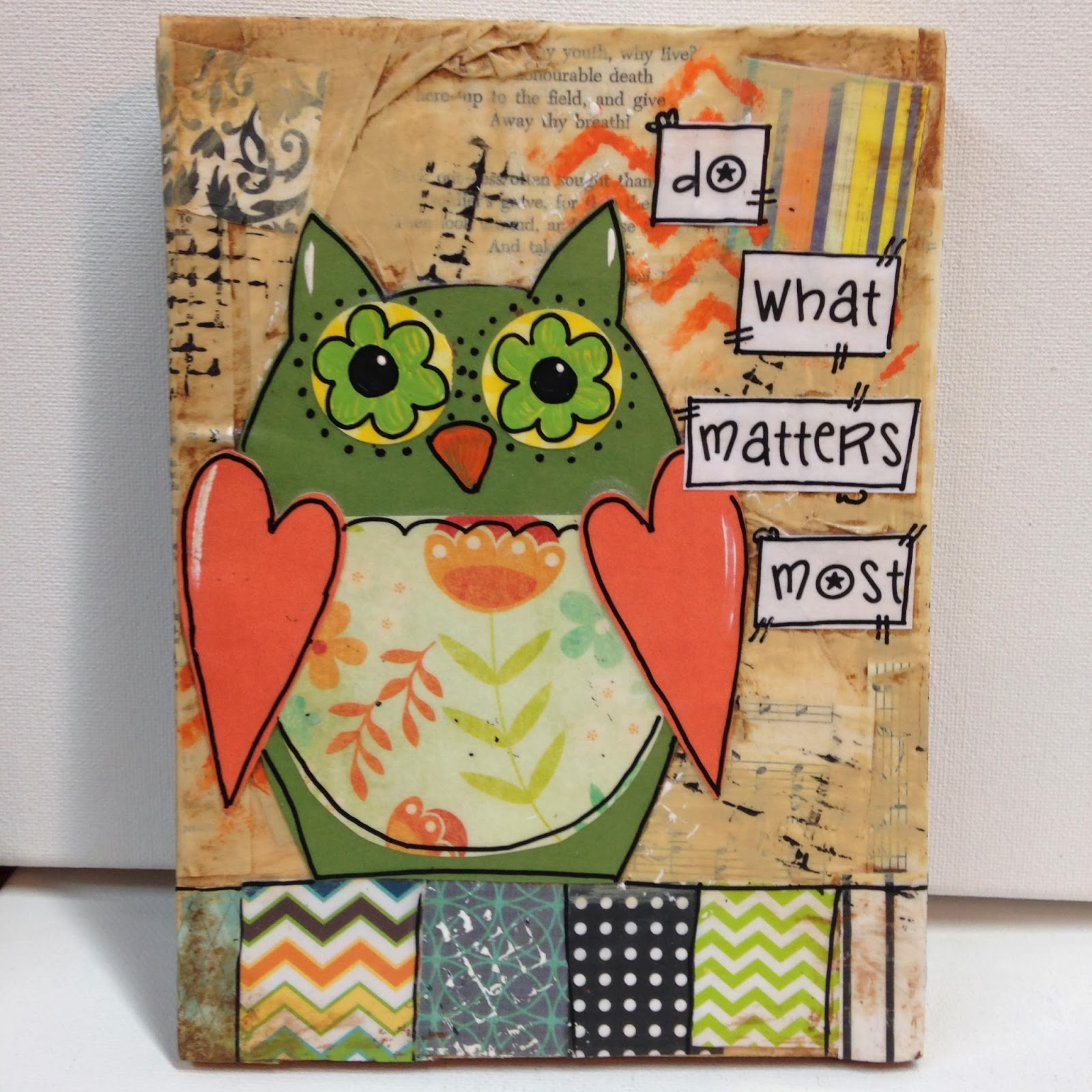 mixed media, mixed media owl, owl art, owl decor, owl, whimsical owl,