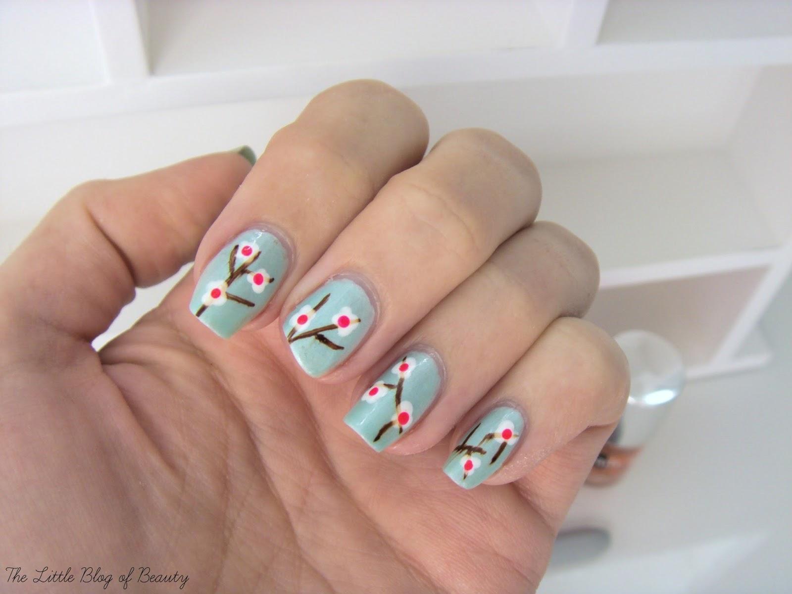 Nail art - Japanese cherry blossom | The Little Blog of Beauty