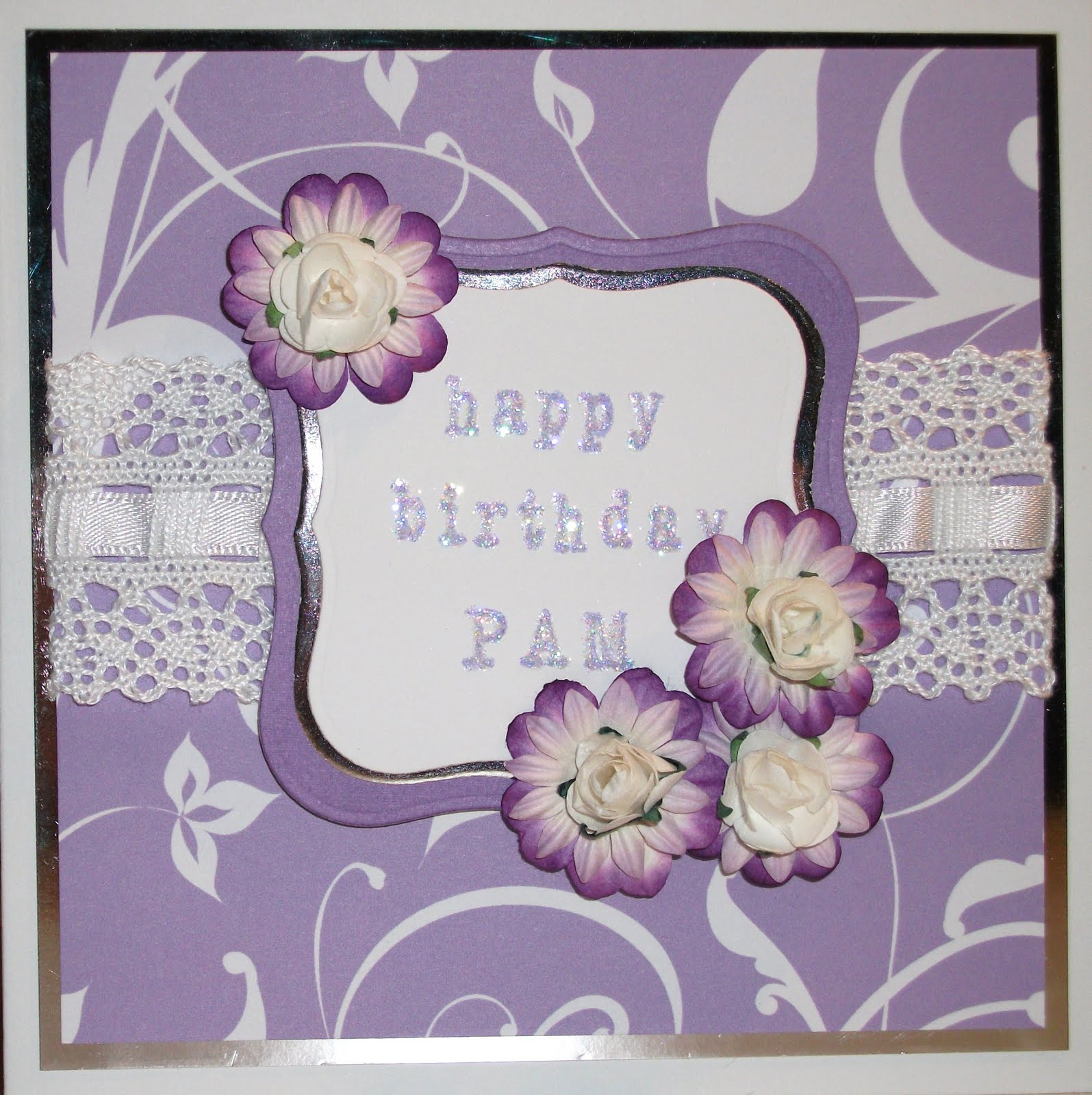 Background Paper Is Pink Petticoat Elegance In Lilac Sentiment Stamped Using Making Memories Magnetic Stamp Base And Alphabet Sparkled Up With Glamour