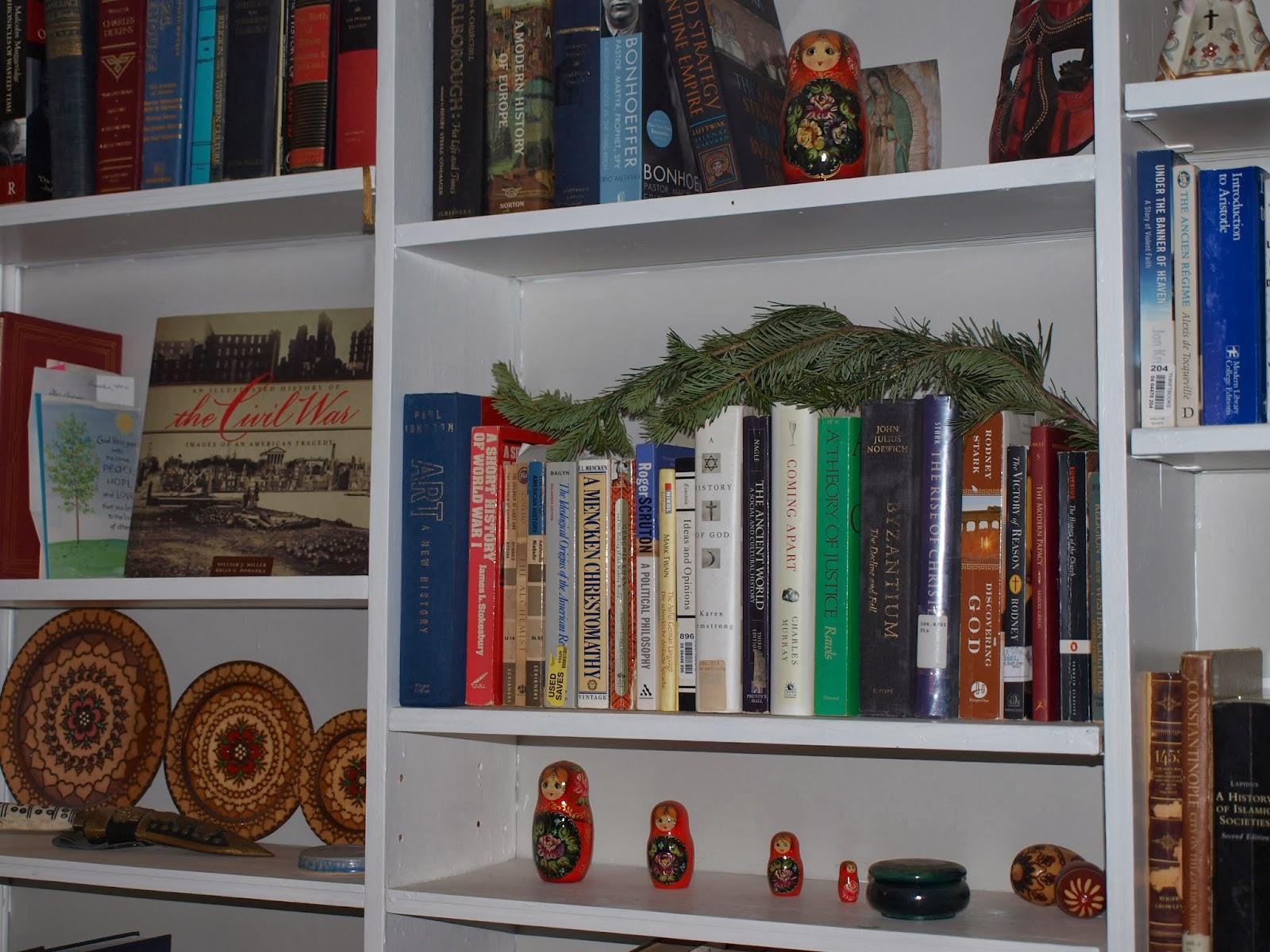 Christmas Bookshelf Close Up