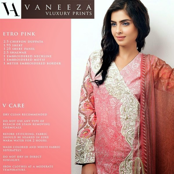 Vaneeza - V Lawn Collection for Summer 2014