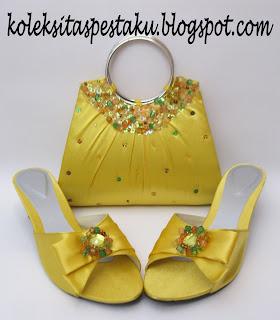 Tas Pesta dan SLop Matching Warna Kuning Mewah