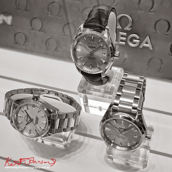 A display of  Seamaster Aqua Terra 150M Master Co-Axial - OMEGA Bondi Junction - Photography by Kent Johnson for Street Fashion Sydney.