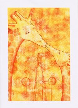 Giraffe Greeting Cards by UK Artist Ingrid Sylvestre - Giraffe Kiss