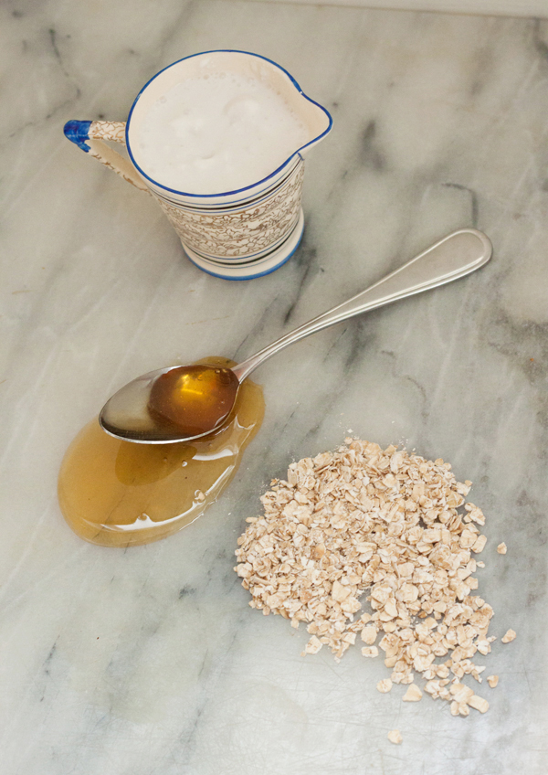 A DIY natural body scrub using coconut milk, honey and rolled oats