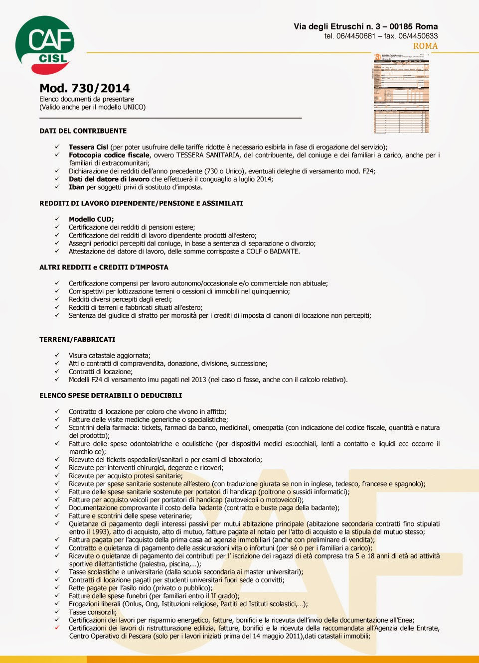 Recapito di roma caf cisl presentazione modello 730 - Presentazione 730 scadenza 2017 ...