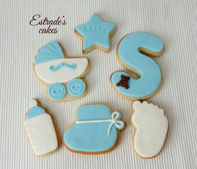 galletas de bebe en azul, hechas con fondant 1