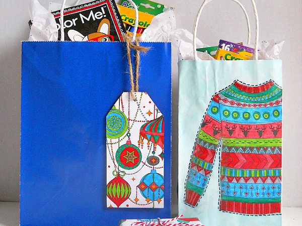 3 Ways To Use Coloring Book Pages As Holiday Wrapping