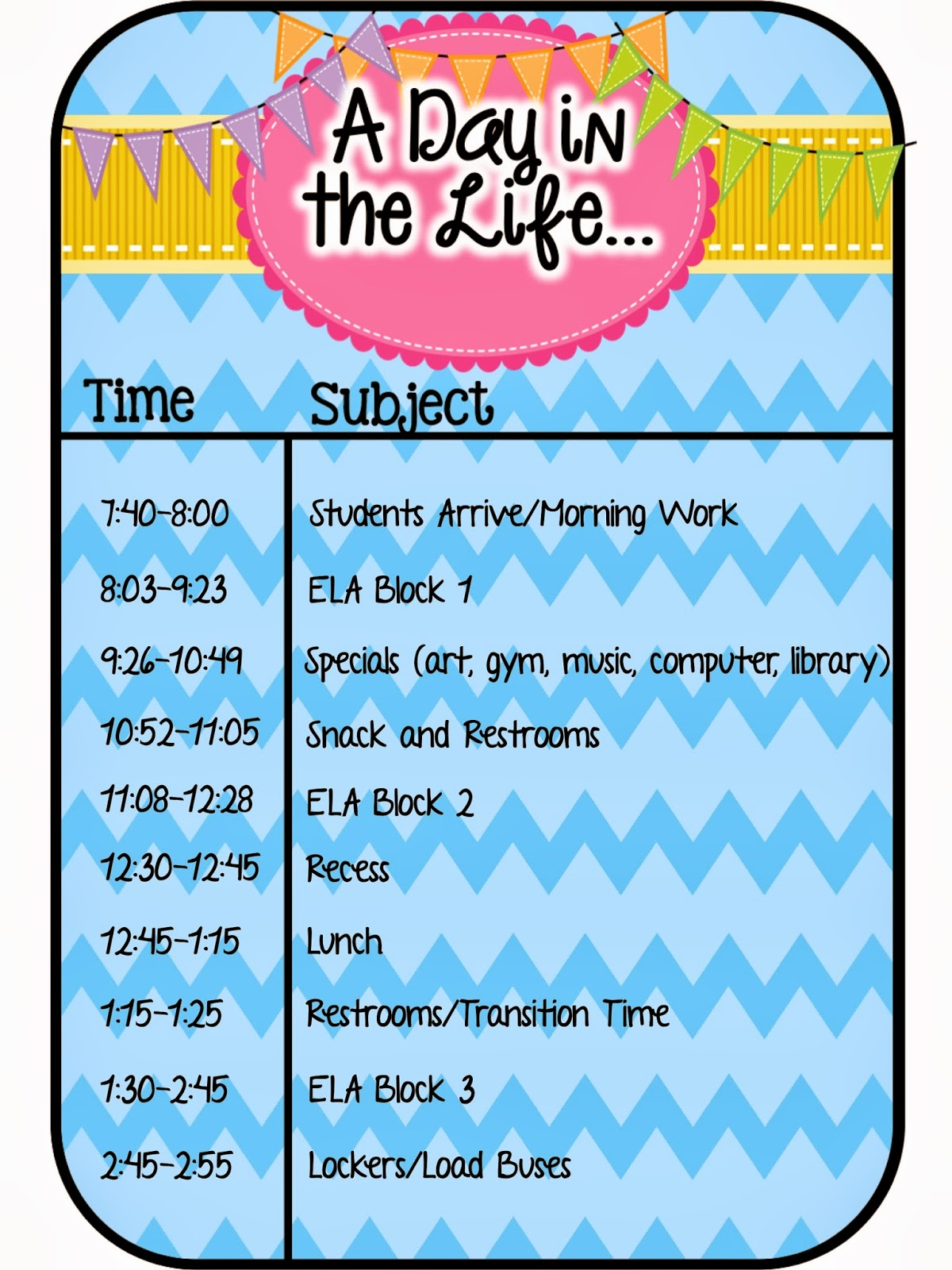 Fourth Grade Flipper: A Day Our Way: Classroom Schedule Linky Party!