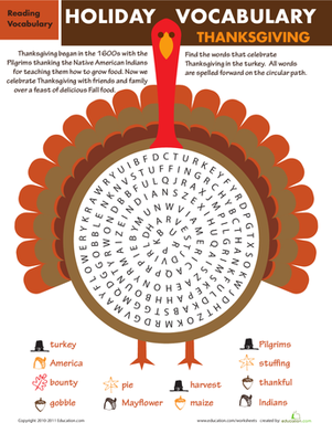Inventive image in printable thanksgiving word search