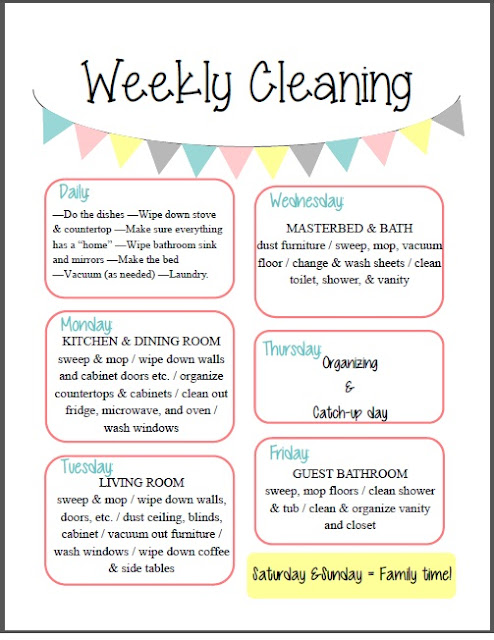Dynamic image intended for weekly cleaning schedule printable