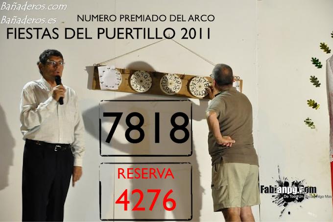 Número Premiado del Arco Fiestas en Honor a Santa Lucía 2011 El Puertillo