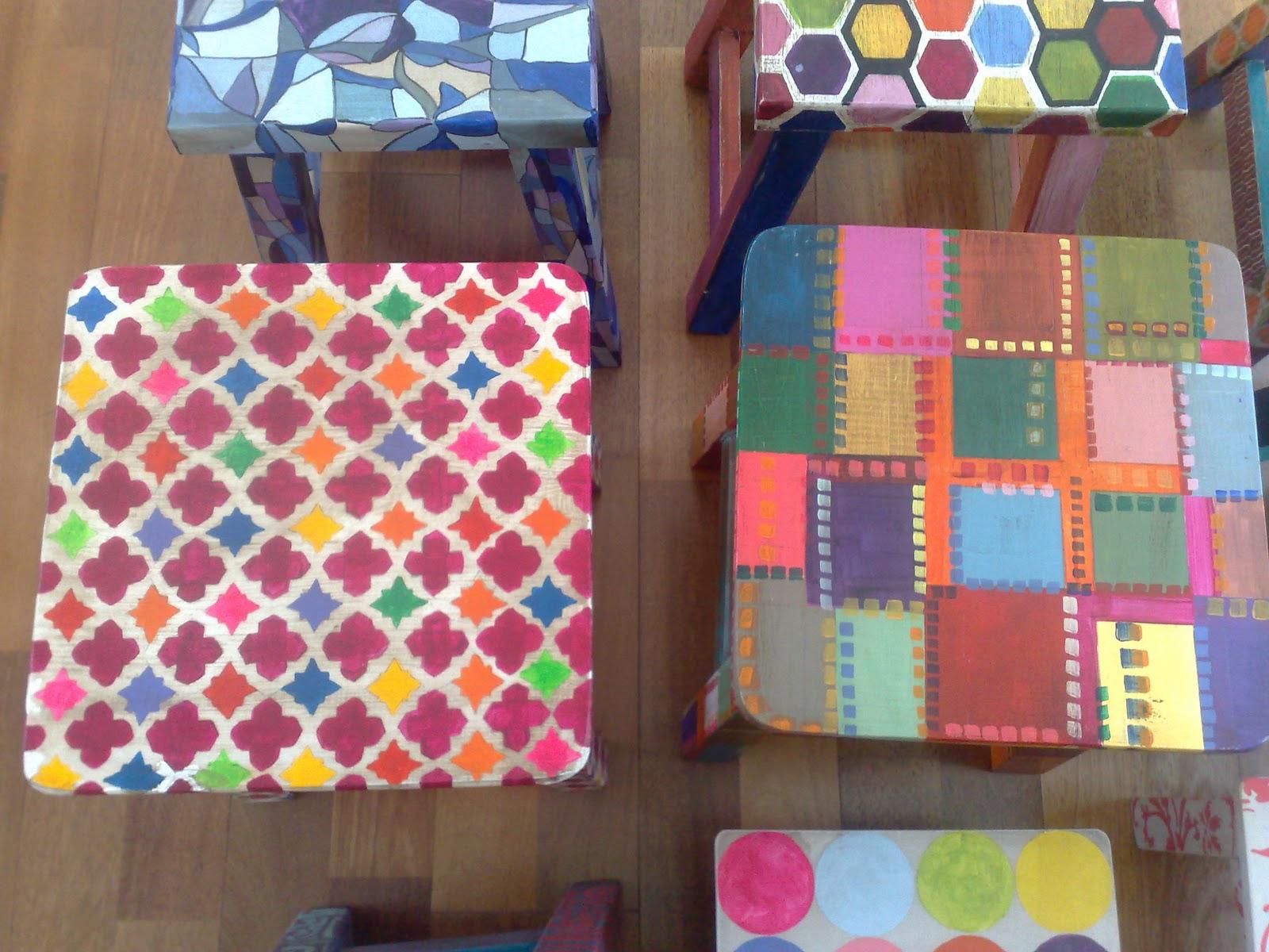 Vintouch muebles reciclados pintados a mano bancos for Muebles pintados a mano