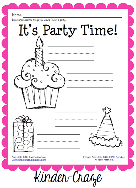 FREE party supply labeling activity
