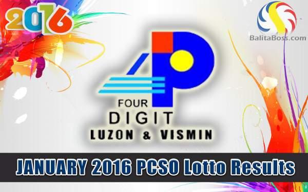 Image: January 2016 PCSO 4 Digit Lotto
