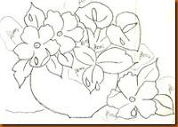 """""""risco de vaso com flores para pintar"""""""