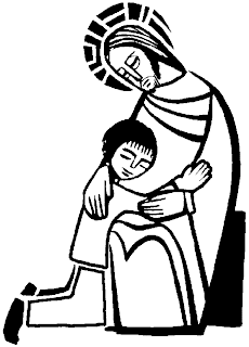 sacrament of reconciliation coloring page of Jesus and Children(kids) download religious photos and Mother Mary images for free
