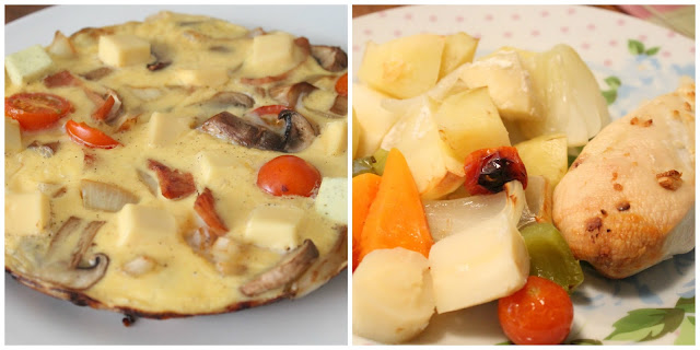 collage of slimming world meals breakfast turkey, mushroom, onion, tomato & cheese omelette tea garlic chicken & roasted veg