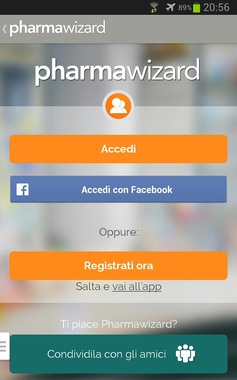 schermata dedicata al login/registrazione di pharmawizard
